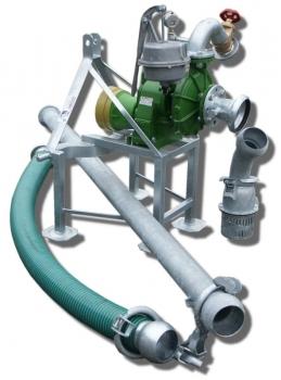 Pompownia T2-65 służy do pompowania wody z ujęć powierzchniowych takich jak stawy, jeziora, rzeki, zbiorniki retencyjne a nawet studnie w których lustro wody podczas pompowania nie opadnie poniżej 6 m od wlotu pompy.
